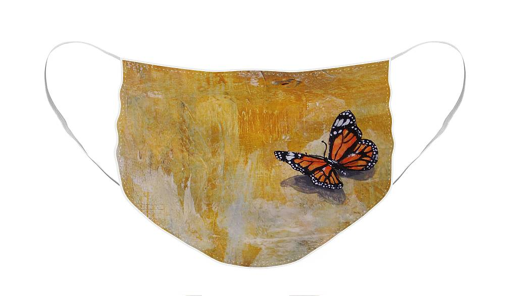 Butterfly Face Mask featuring the painting Cheerful visitor butterfly by Noelle Rollins