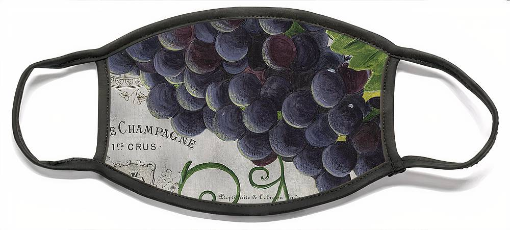 Grapes Face Mask featuring the painting Vins de Champagne 2 by Debbie DeWitt