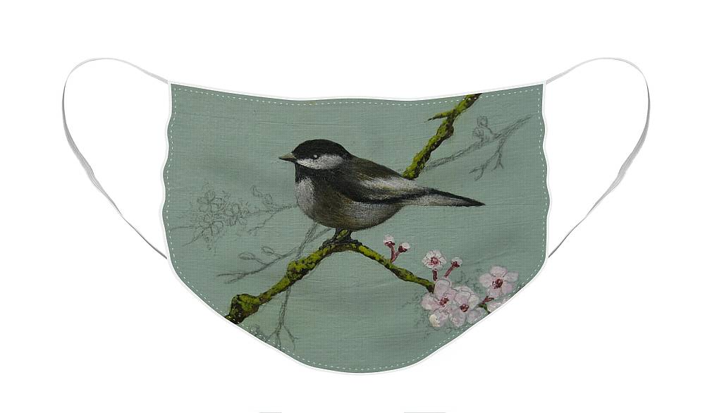 Miniature Face Mask featuring the painting Chickadee by Victoria Heryet
