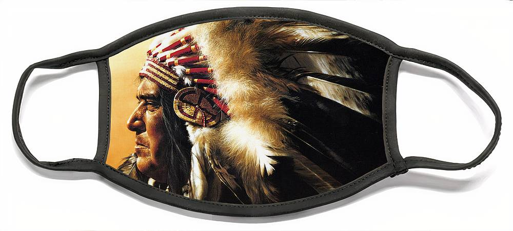 Native American Face Mask featuring the painting Chief by Greg Olsen