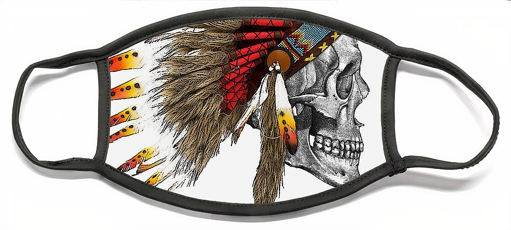 Indian Face Mask featuring the digital art Chief headdress on human skull native american art by Madame Memento