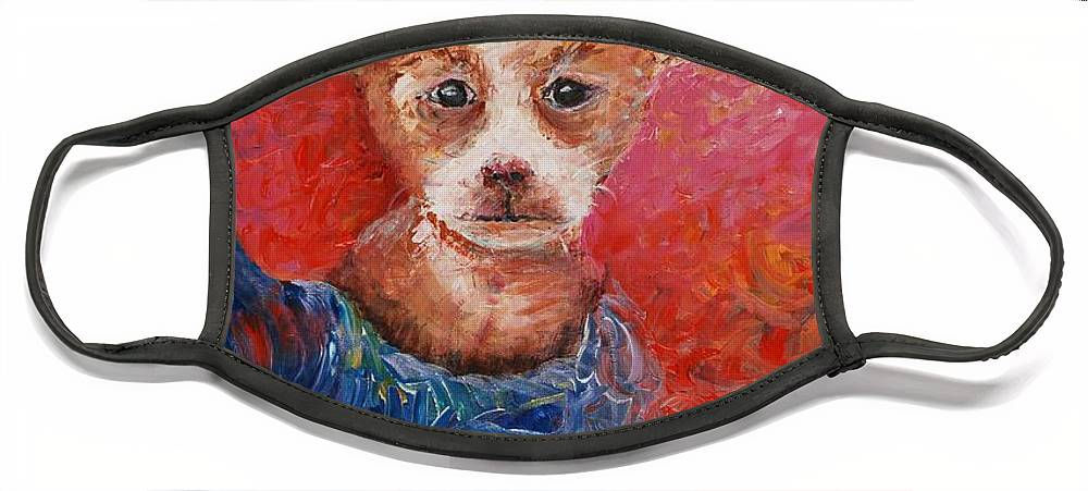 Dog Face Mask featuring the painting Chihuahua Blues by Nadine Rippelmeyer