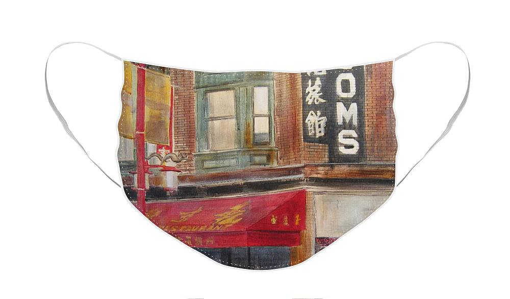 Rooming House Face Mask featuring the painting Chinatown 1 by Victoria Heryet