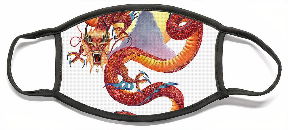Dragon Face Mask featuring the painting Chinese Red Dragon by Melissa A Benson