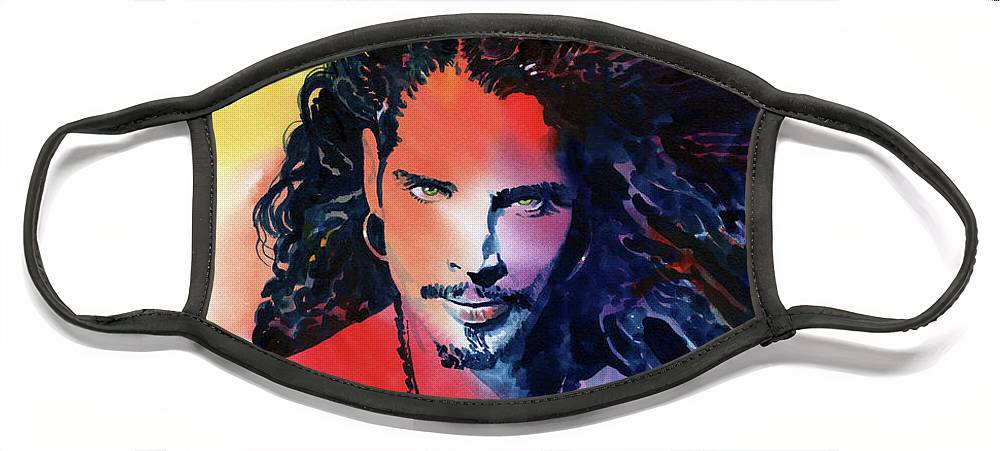 Soundgarden Face Mask featuring the painting Chris Cornell by Ken Meyer jr