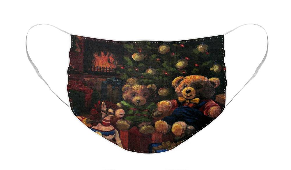 Christmas Face Mask featuring the painting Christmas Past by Karen Ilari