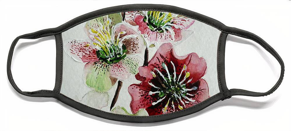 Floral Flower Pink Face Mask featuring the painting Christmas Rose by Karin Dawn Kelshall- Best