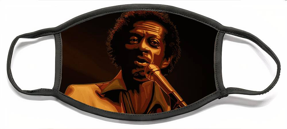 Chuck Berry Face Mask featuring the mixed media Chuck Berry Gold by Paul Meijering