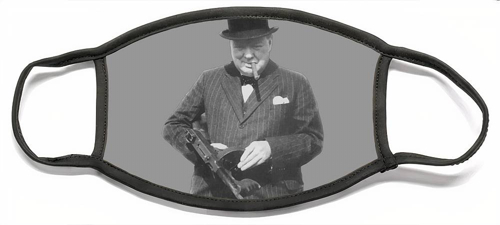 Winston Churchill Face Mask featuring the painting Churchill Posing With A Tommy Gun by War Is Hell Store