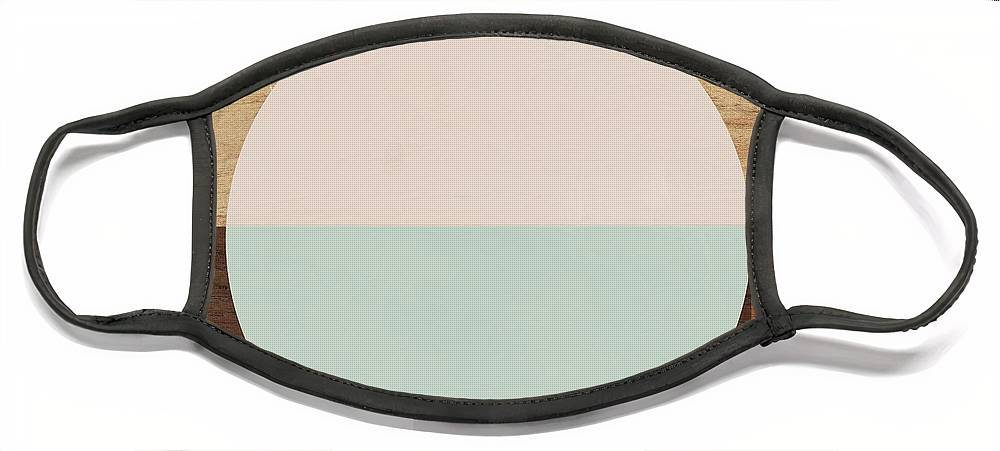 Modern Face Mask featuring the mixed media Cirkel in Peach and Mint- Art by Linda Woods by Linda Woods