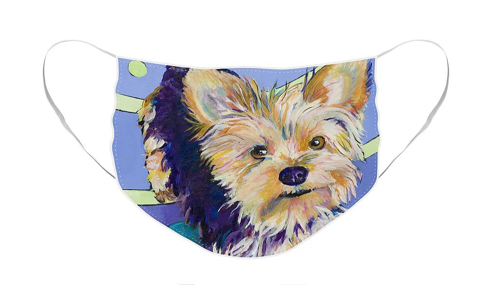 Pet Portraits Face Mask featuring the painting Claire by Pat Saunders-White