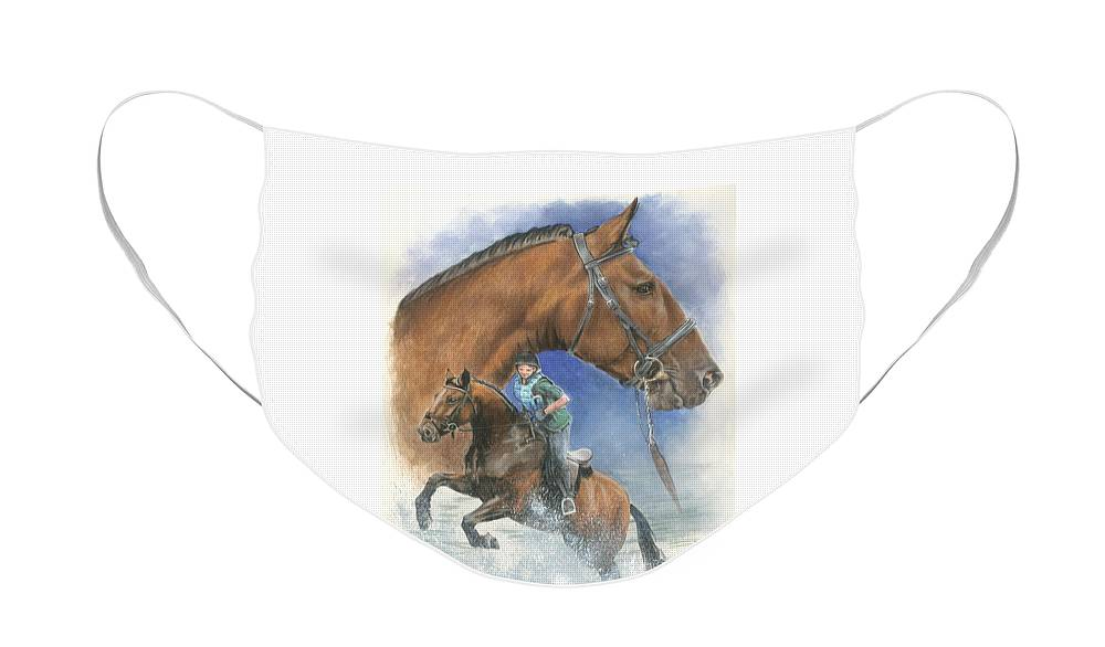 Hunter Jumper Face Mask featuring the mixed media Cleveland Bay by Barbara Keith