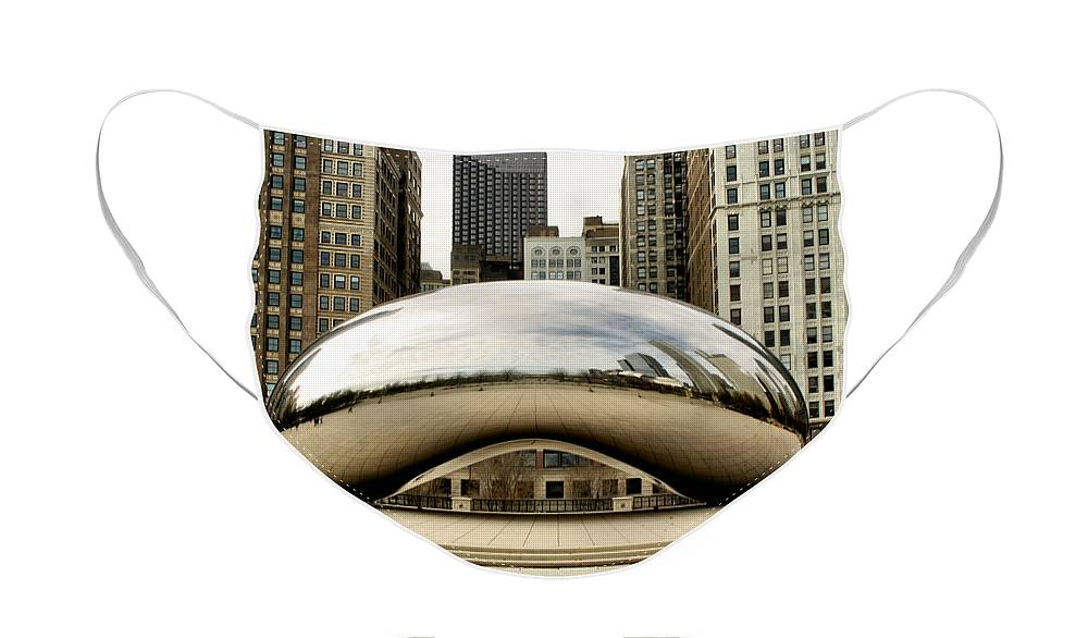 Chicago Face Mask featuring the photograph Cloud Gate - 3 by Ely Arsha