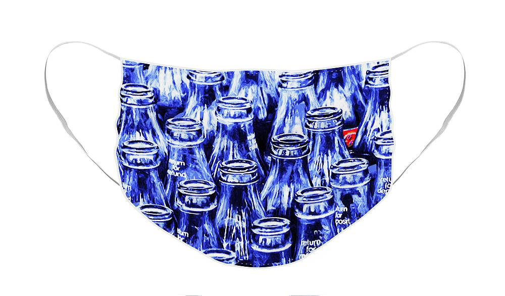Wingsdomain Face Mask featuring the photograph Coca-Cola Coke Bottles - Return For Refund - Square - Painterly - Blue by Wingsdomain Art and Photography