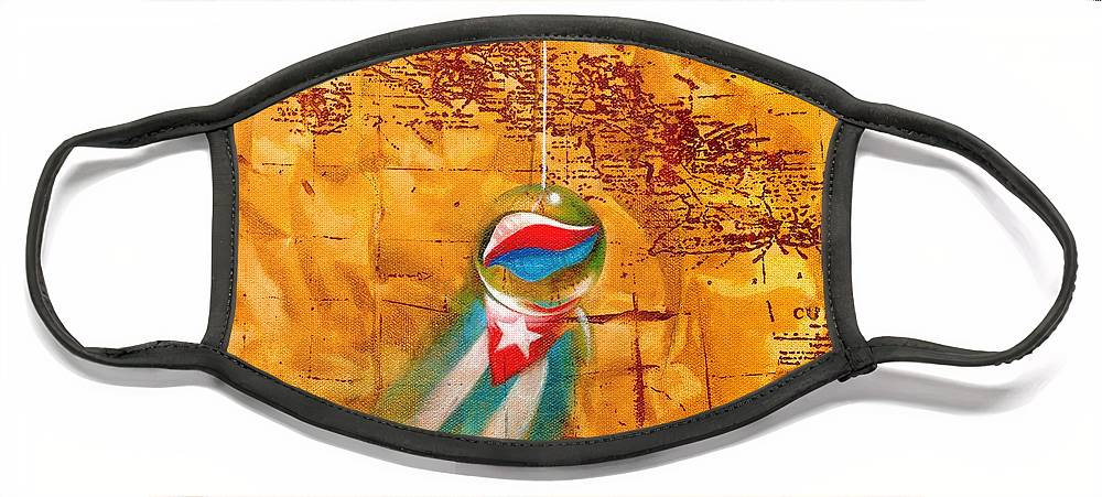 Marble Hanging By A String Face Mask featuring the painting Colgando En Un Hilito by Roger Calle