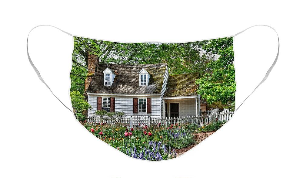 Williamsburg Face Mask featuring the photograph Colonial Williamsburg Flower Garden by Todd Hostetter