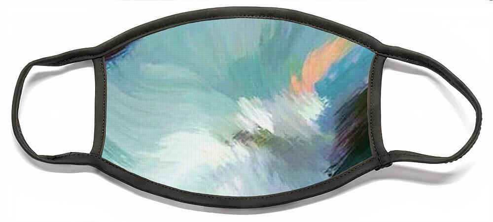 Landscape Digital Art Face Mask featuring the digital art Color Falls by Anil Nene