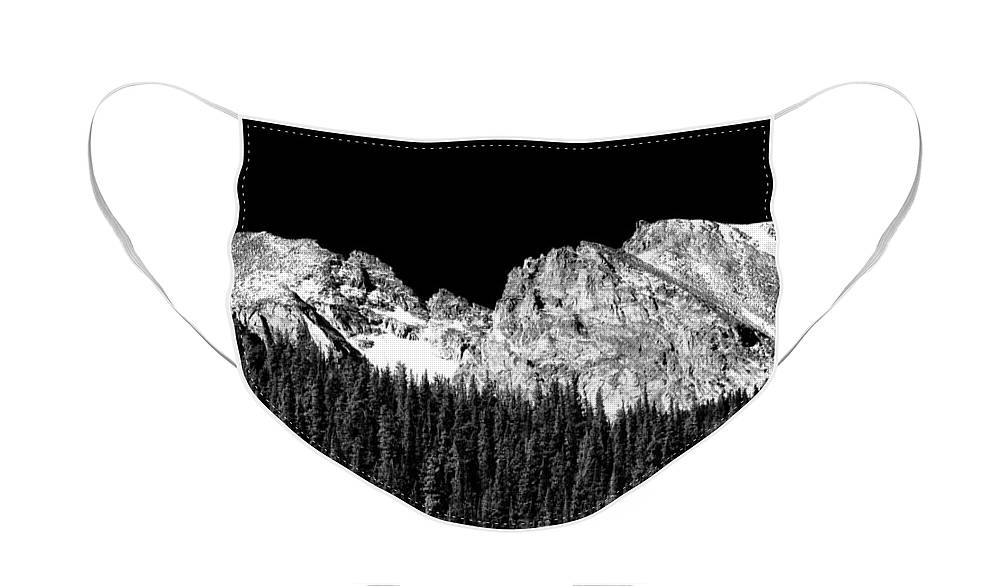 Indian Peaks Face Mask featuring the photograph Colorado Rocky Mountains Indian Peaks Fine Art BW Print by James BO Insogna