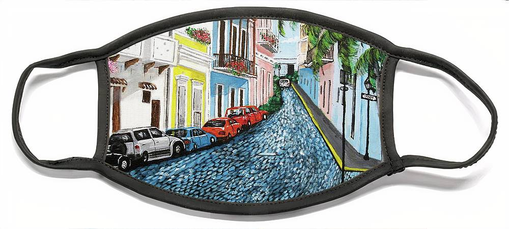 Old San Juan Face Mask featuring the painting Colorful Old San Juan by Luis F Rodriguez