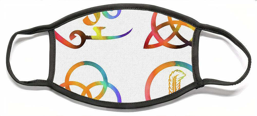 Colorful Zoso Symbols Face Mask featuring the mixed media Colorful Zoso Symbols by Dan Sproul