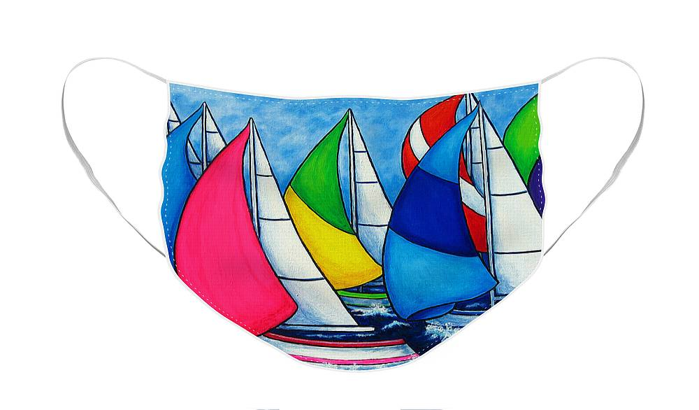 Boats Face Mask featuring the painting Colourful Regatta by Lisa Lorenz