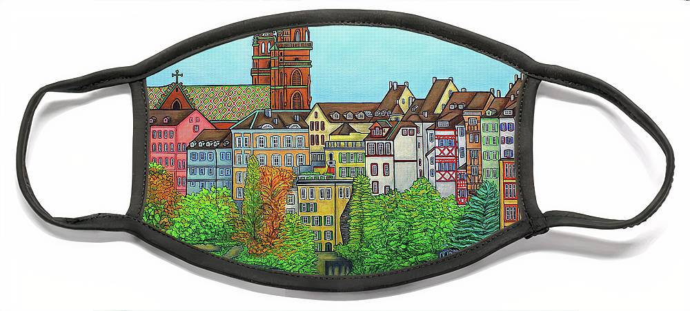 Lisa Lorenz Face Mask featuring the painting Basel, Colours of Basel by Lisa Lorenz