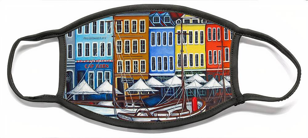 Nyhavn Face Mask featuring the painting Colours of Nyhavn by Lisa Lorenz