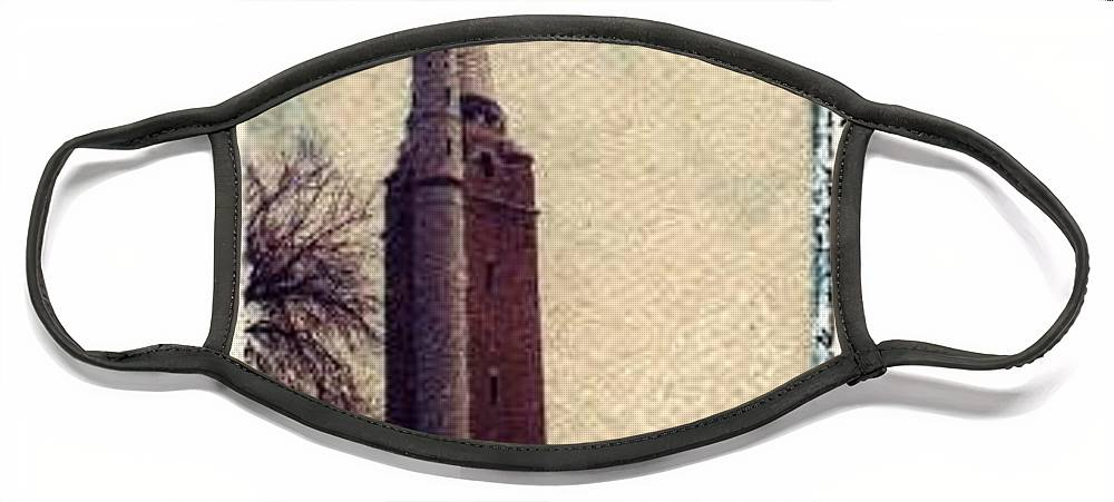 Polaroid Transfer Face Mask featuring the photograph Compton Water Tower by Jane Linders