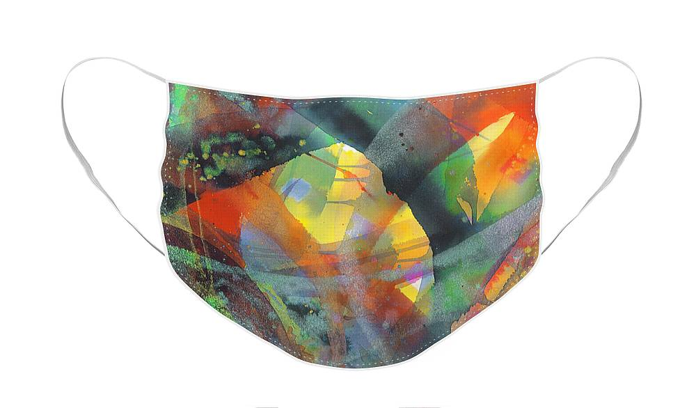 Abstract Face Mask featuring the painting Connections by Lucy Arnold
