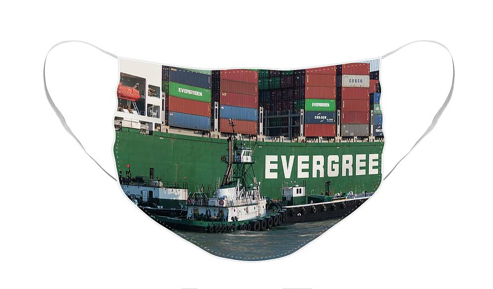 Photograph Face Mask featuring the photograph Container Ship with Tug Boats by Suzanne Gaff
