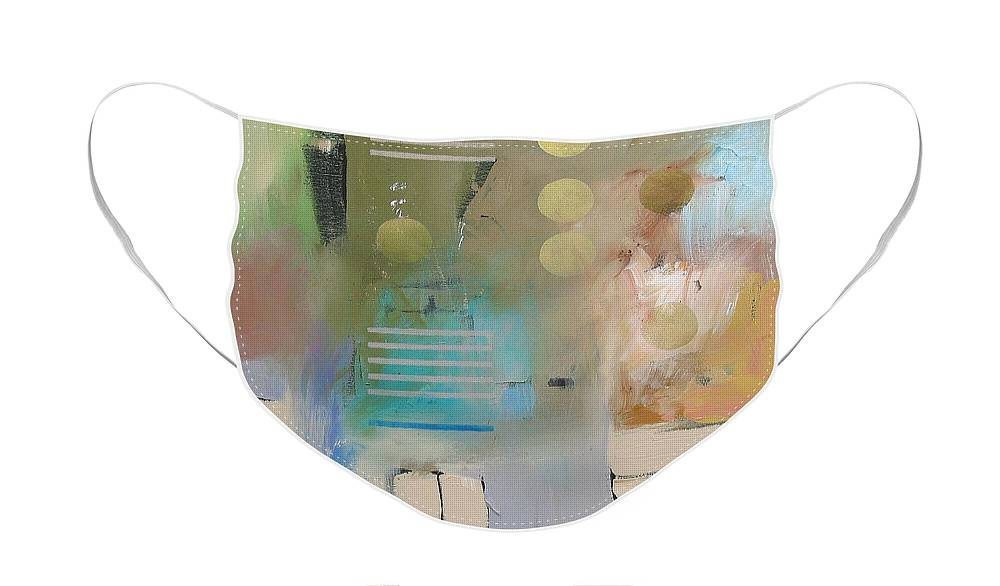 Original Face Mask featuring the painting Conundrum by Linda Monfort
