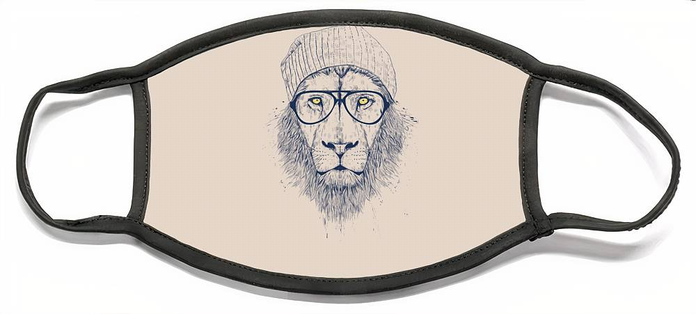 Lion Face Mask featuring the drawing Cool lion by Balazs Solti