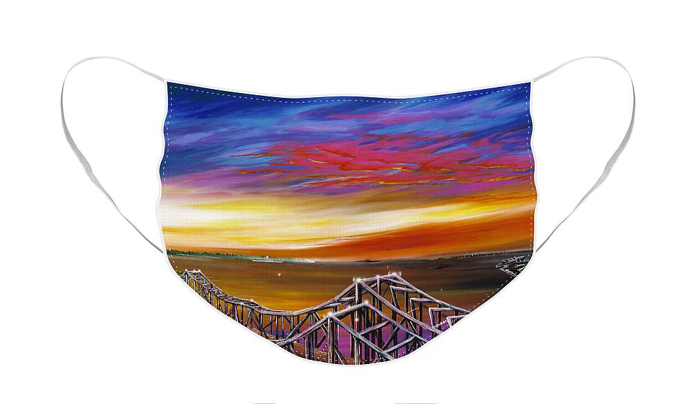 Clouds Face Mask featuring the painting Cooper River Bridge by James Christopher Hill
