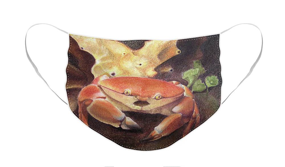 Animals Face Mask featuring the painting Coral Crab by Adam Johnson