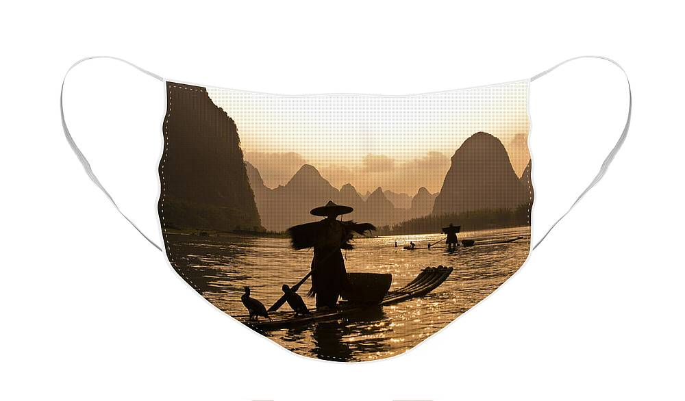 Asia Face Mask featuring the photograph Cormorant Fisherman at Sunset by Michele Burgess