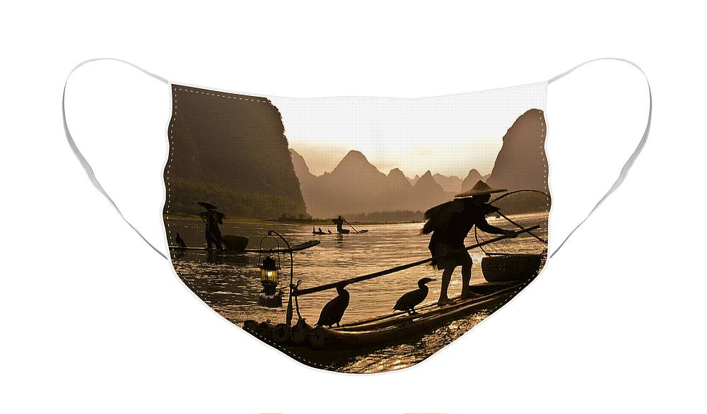 Asia Face Mask featuring the photograph Cormorant Fishermen at Sunset by Michele Burgess