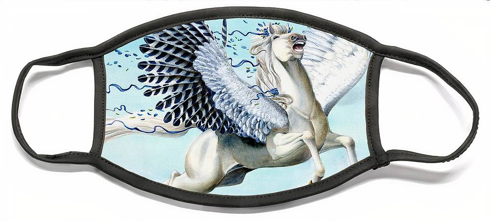 Artwork Face Mask featuring the painting Cory Pegasus by Melissa A Benson