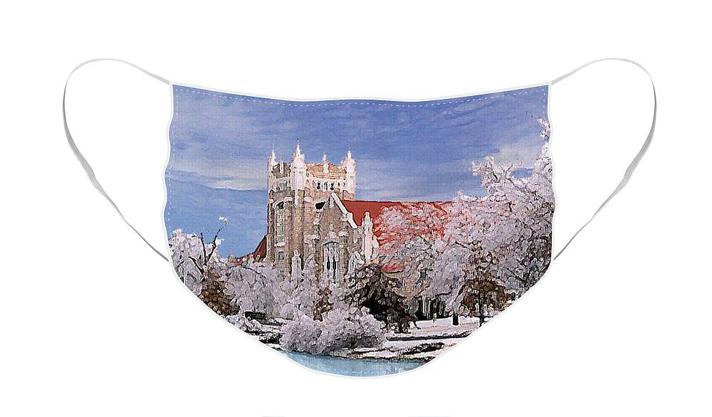 Winter Face Mask featuring the photograph Country Club Christian Church by Steve Karol