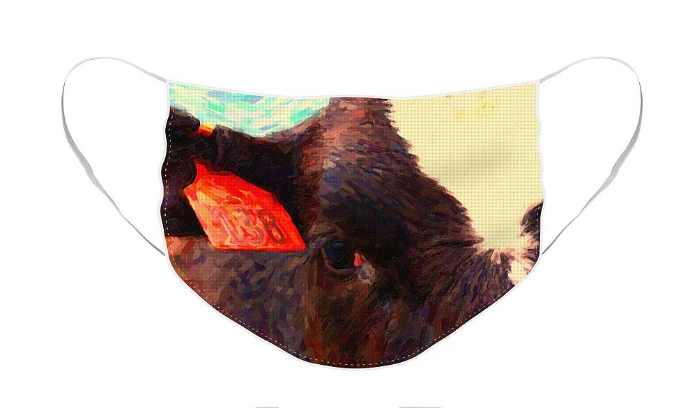 Wildlife Face Mask featuring the photograph Cow 138 Reinterpreted by Wingsdomain Art and Photography