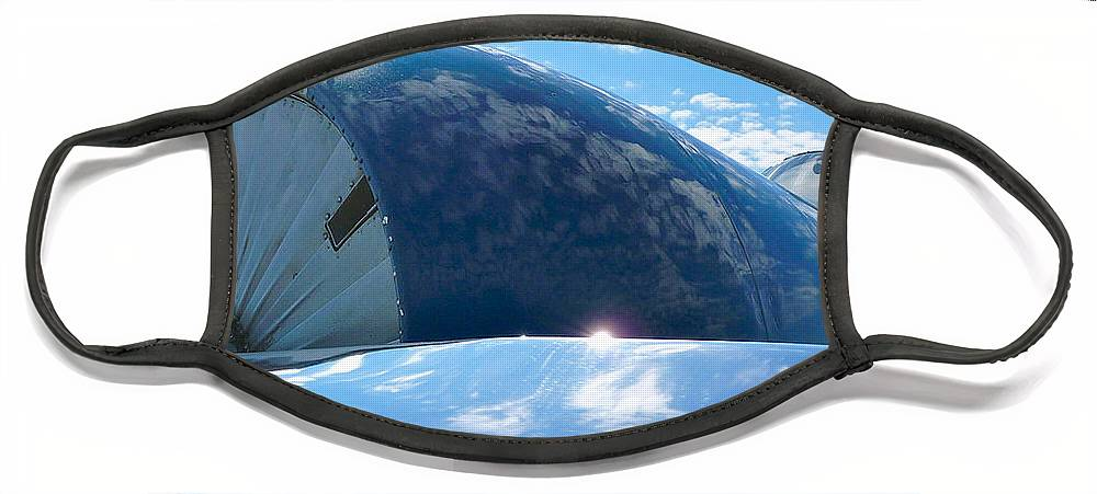 The Front End Of A Vintage Trainer Under Florida Summer Skies Face Mask featuring the photograph Cowling by Scott Waters