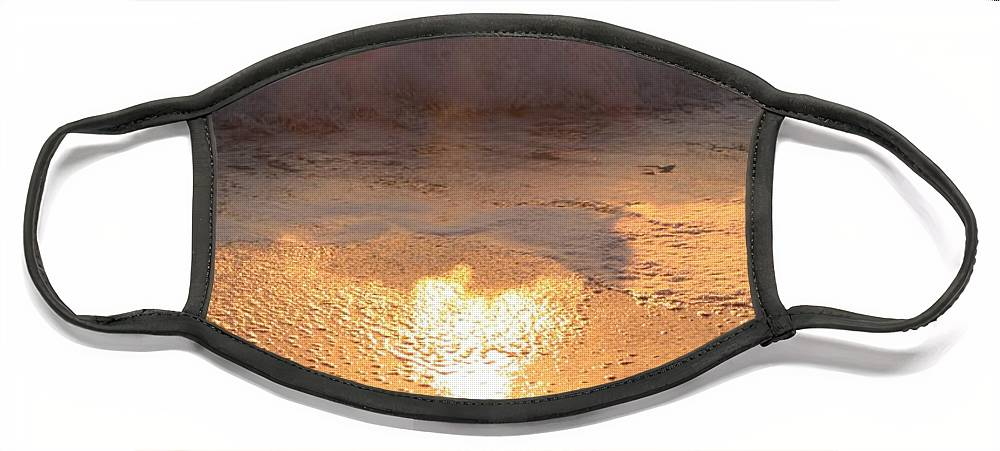 Waves Face Mask featuring the photograph Crashing Wave at Sunrise by Nadine Rippelmeyer