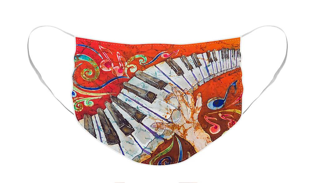 Piano Face Mask featuring the tapestry - textile Crazy Fingers - Piano Keyboard by Sue Duda