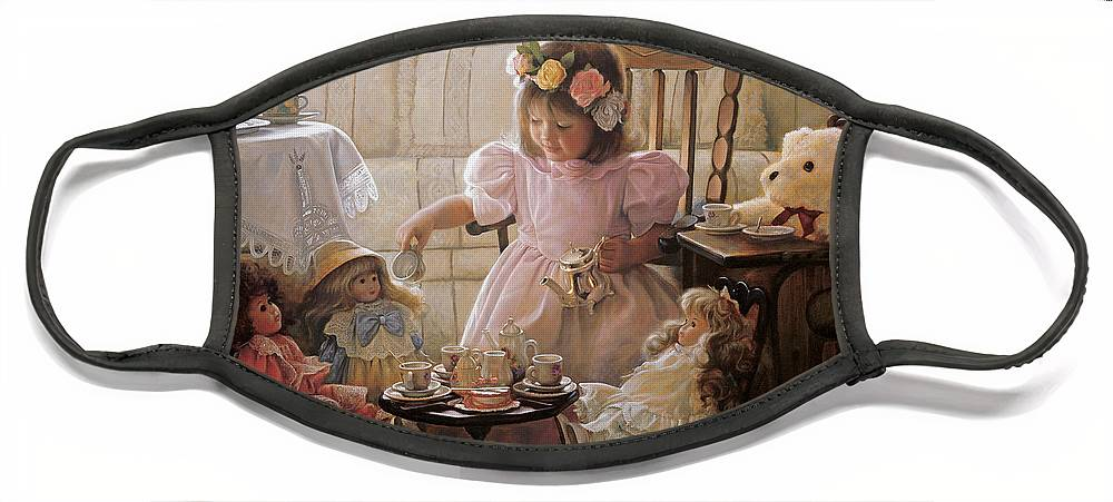 Girl Face Mask featuring the painting Cream and Sugar by Greg Olsen