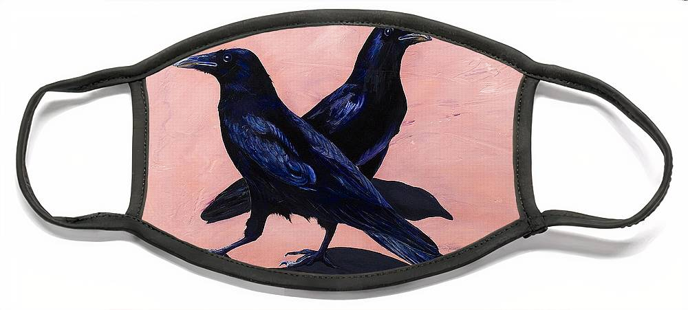 Crows Face Mask featuring the painting Crows by Sandi Baker
