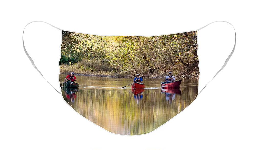 Canoeing Face Mask featuring the photograph Current River Fall Float by Marty Koch