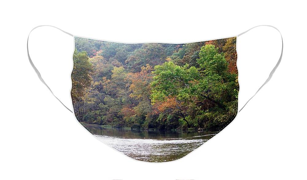 Current River Face Mask featuring the photograph Current river Fall by Marty Koch