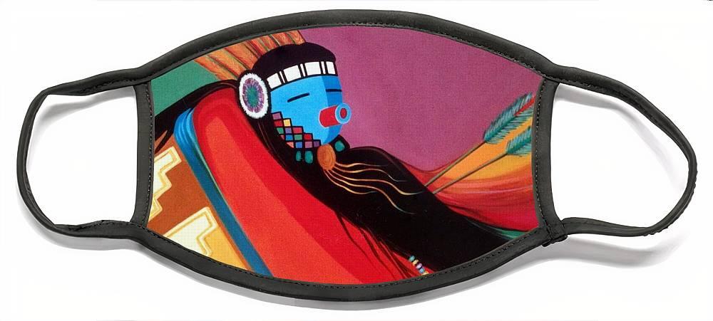 Kachina Face Mask featuring the painting Custom Kachina by Marlene Burns