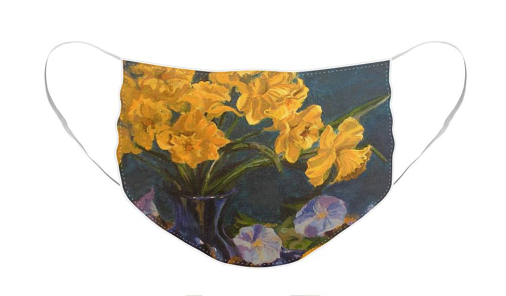 Still Life Face Mask featuring the painting Daffodils by Karen Ilari