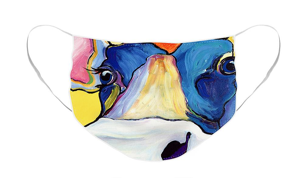 Cow Print Face Mask featuring the painting Dairy Queen I  by Pat Saunders-White