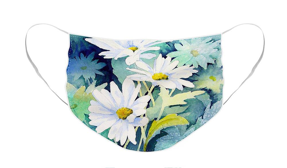 Flowers Face Mask featuring the painting Daisies by Sam Sidders